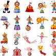 Cartoon happy circus show icons collection — Stock Vector #9810982