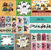 Cartoon motorcycle card — Stock Vector