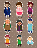 Cartoon family Stickers,Label — Stock Vector