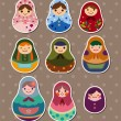 Russian dolls stickers — Stock Vector
