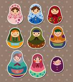 Russian dolls stickers — Stock Vector