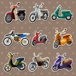 Cartoon motorcycle stickers — Stock Vector