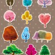 Tree stickers - Stok Vektör