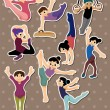Cartoon gymnastic stickers - Stock Vector