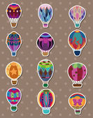 Cartoon hot air balloon stickers — Stock Vector