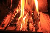 Fire inside the fireplace — Stock Photo