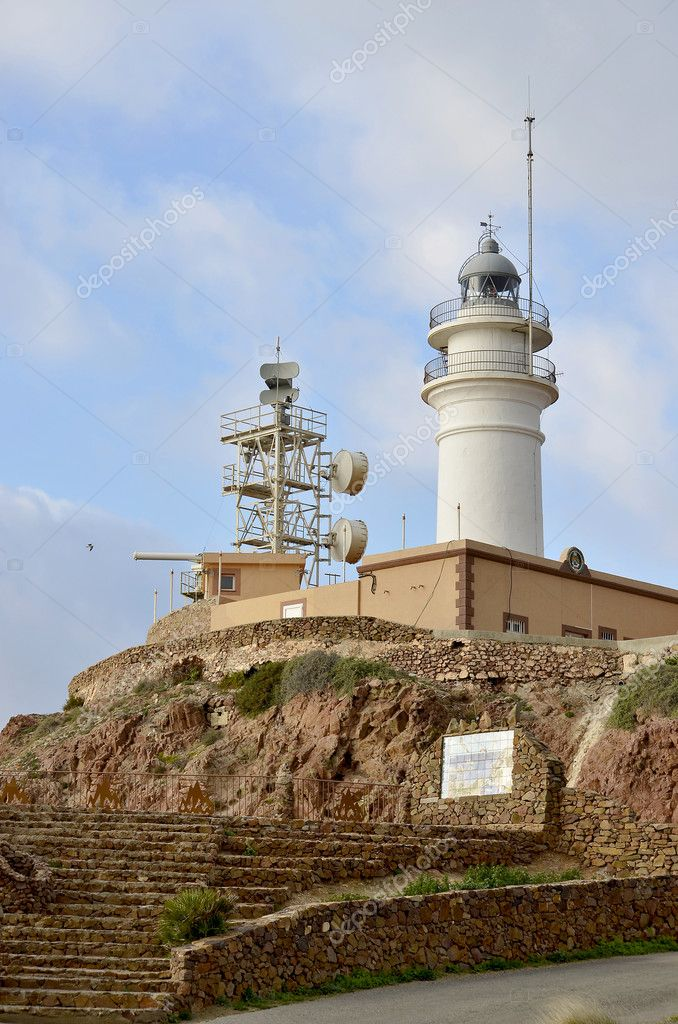 Lighthouse in Spanish southeast side. Andalusia, Almeria.  Stock Photo #8552328