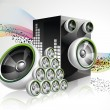 Abstract vector shiny design with speakers on waves background. — Stock Vector