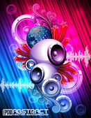 Vector illustration for a musical theme with speakers — Vector de stock