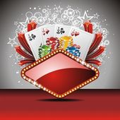 Vector gambling illustration with casino elements — Stock Vector