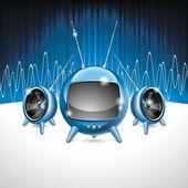 Vektor illustration för en musikalisk tema med högtalare och futuristiska tv — Stockvektor