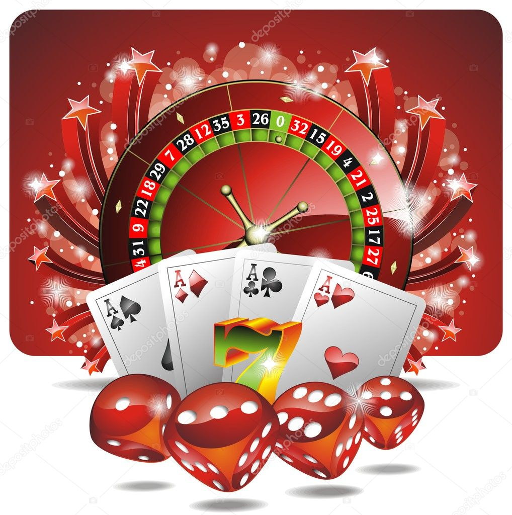 Vector gambling illustration with casino elements — Stock Vector #7982175
