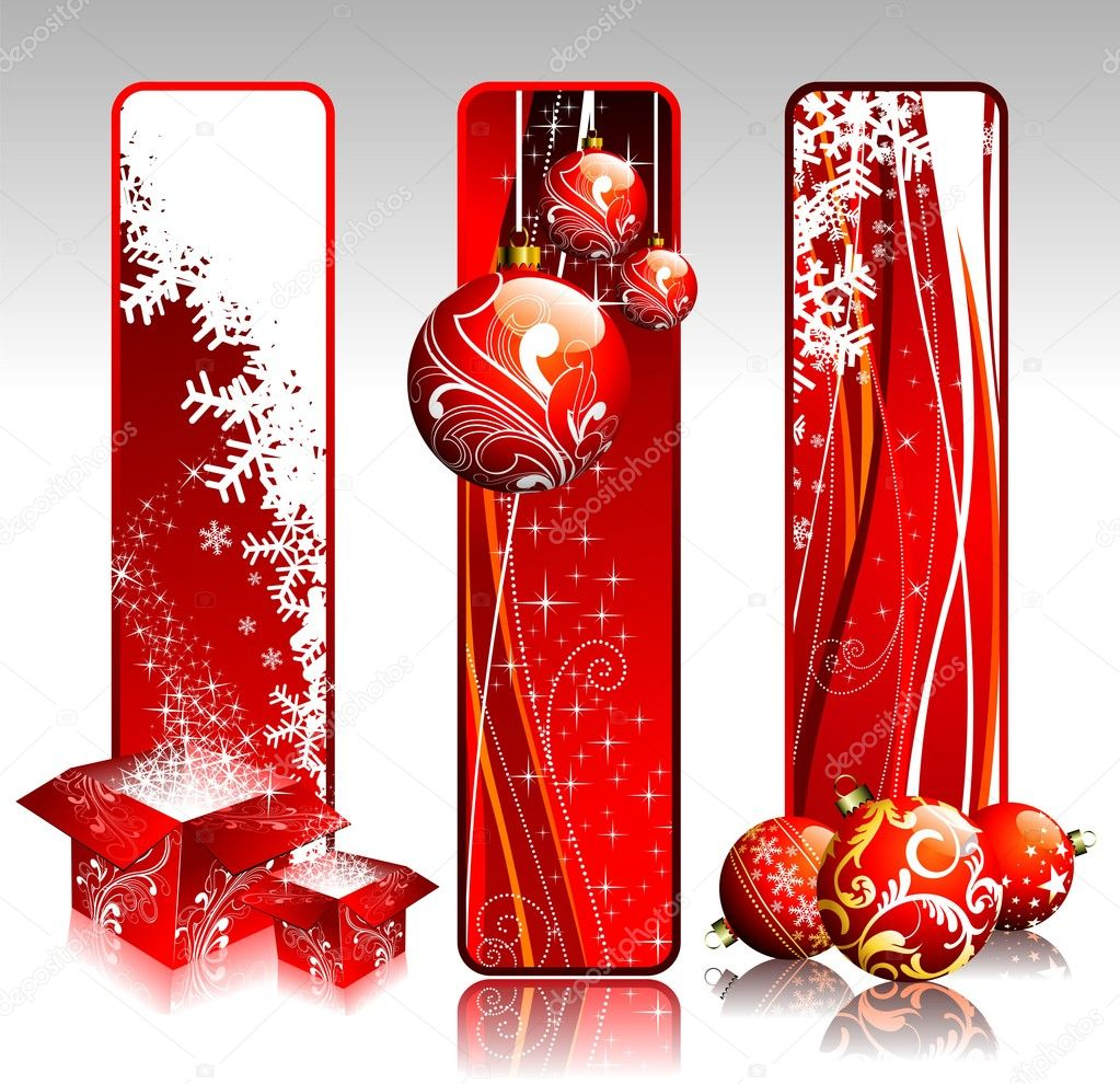 Three vertical banners illustration on a Christmas theme. — Stock Vector #8032129