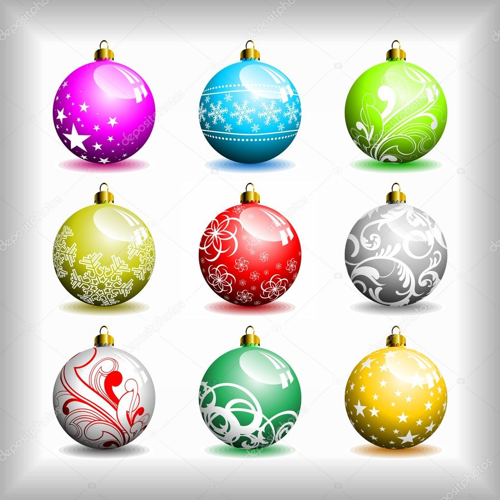 Nine different vector Christmas bubbles. — Stock Vector #8032147