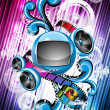 Abstract vector shiny background with speakers and futuristic television. — Stock Vector