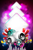 Abstract vector shiny background with speaker and design elements. — Stock Vector