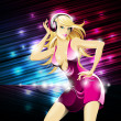 Vector party illustration about a beautiful sexy woman on a music and disco theme. — Stock Vector