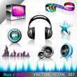 Royalty-Free Stock Vector Image: Vector icon collection on a music and media theme.