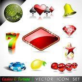 Coleção de ícone do vetor sobre um tema de cassino e fortuna. — Vetorial Stock