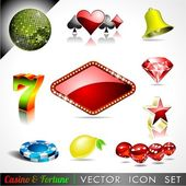 Vector icon collection on a casino and fortune theme. — Vettoriale Stock