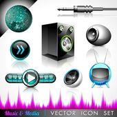 Collection d'icônes vectorielles sur un thème de la musique et les médias. — Vecteur