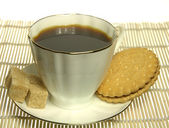 White Cup of coffee with cookie and sugar — Stock Photo