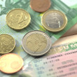 Schengen visa and euro coins for journey — Stock Photo