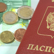 International Passport and euro coins — Foto Stock