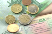 Schengen visa and euro coins for journey — Stock Photo