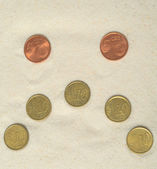 Sad smiley made of euro coins — Stockfoto
