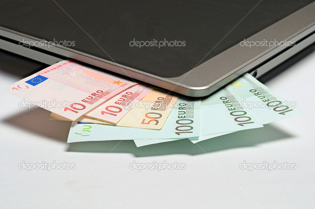 Euros in the notebook as symbol of freelance  Stock Photo #8547609