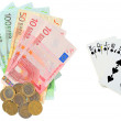 Euro money as prize in poker — Stock Photo