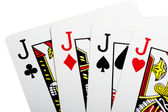 Quads of jack for poker closeup — Stock Photo