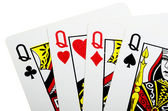 Quads of queen for poker closeup — Stock Photo