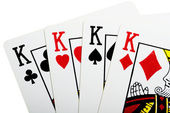 Quads of king for poker closeup — Stock Photo