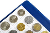 Album with coins for numismatics — Stock Photo