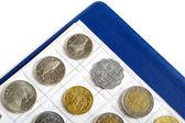 Album with coins for numismatics — Stock Photo
