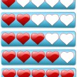 Stock Vector: Five hearts review bars for rating