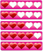 Five hearts review bars for rating — Stock Vector