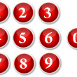 Numbers Buttons - Stock Vector