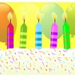 Birthday candles on colorful background — Stock Vector
