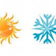 Sun and snowflake — Stock Vector #9674864