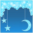Vector blue background with clouds, the new moon and the stars — Stock Vector #9835030