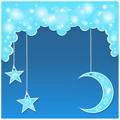 Vector blue background with clouds, the new moon and the stars — Stock Vector