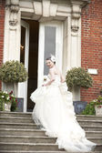 Bride on steps — Stock Photo