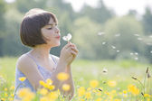 Child blowing dandelion2956 — Stock Photo