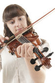 Teenage girl playing Viola — Stock Photo