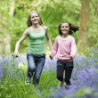 Two girls in bluebells — Stock Photo
