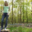 Girl in woods — Foto Stock