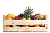 Fruit in wooden box — Stock Photo